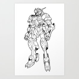 Gundam Barbatos Outline Black Art Print
