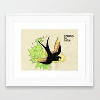 swallow Framed Art Prints featuring Swallow by Black Wolf