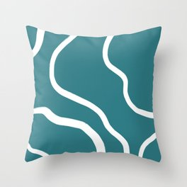 Contemporary Teal and White Abstract Throw Pillow