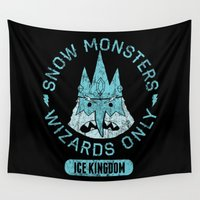 cartoons Wall Tapestries featuring Bad Boy Club: Snow Monsters, Wizards Only by Josh Ln