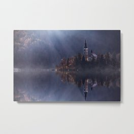 View island and church on Bled Lake.  Metal Print