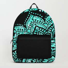 Black teal mandala Backpack