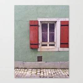 Red Shutters  Canvas Print