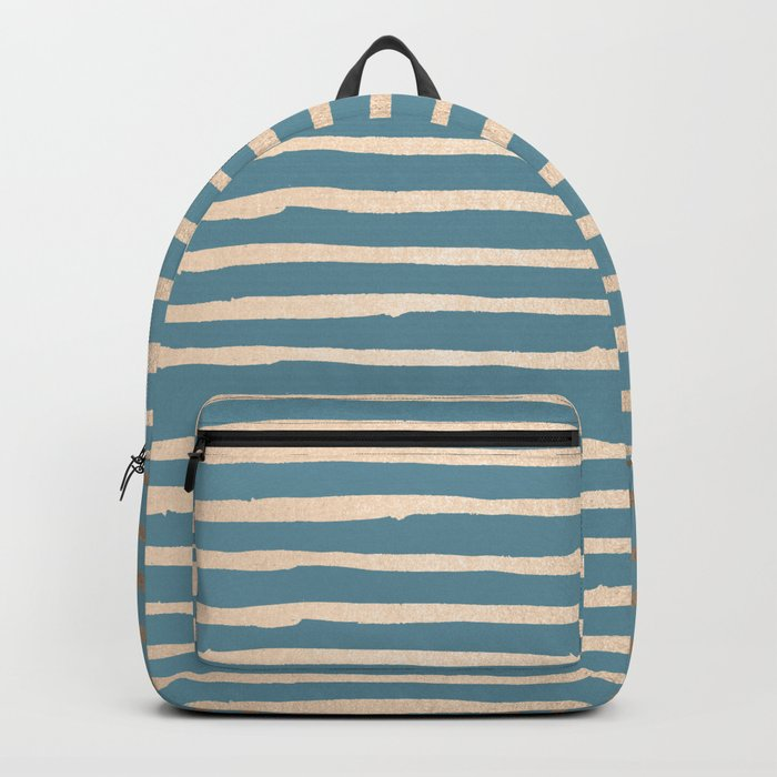 Abstract Stripes Gold Tropical Ocean Blue Backpack