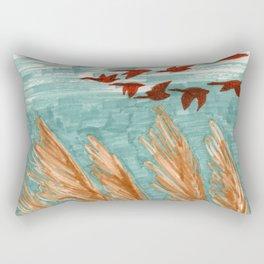 Geese Flying over Pampas Grass Rectangular Pillow