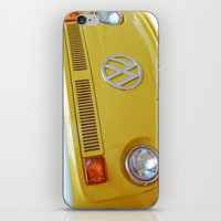 vw bus iPhone & iPod Skins featuring Yellow VW Volkswagen Bus Van by Majokko Tay