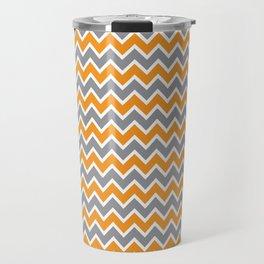 Modern Chevron Zig-Zag Pattern (orange/grey) Travel Mug