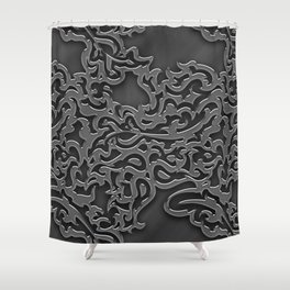Floral embossing - chrome Shower Curtain