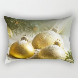 Gold Christmas Ornaments in Snow with Garland & Warm Glory Light Rectangular Pillow