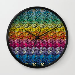 Escher Fish Rainbow Pattern Wall Clock