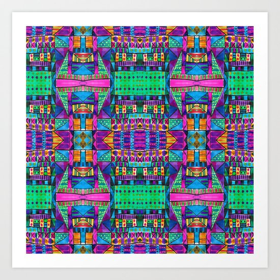 Tribal Patchwork II Pink Art Print