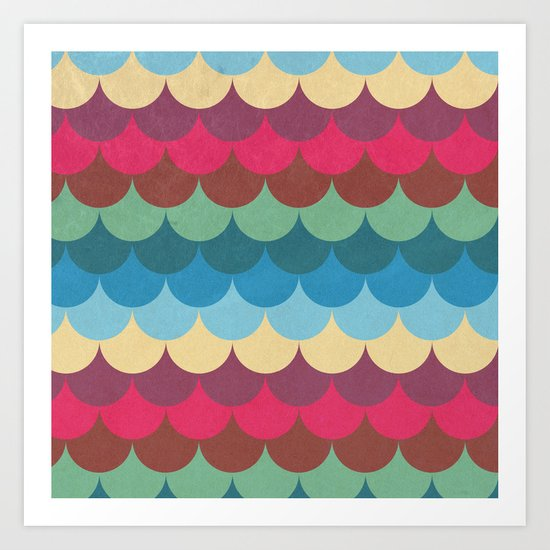 Colorful Mermaid Pattern Art Print