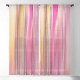 Abstract pink violet yellow watercolor brushstrokes stripes Sheer Curtain