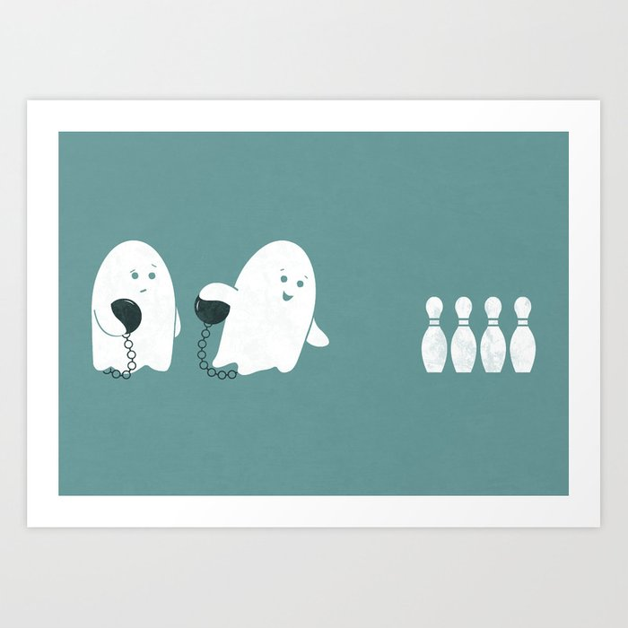 Bowling Ghost Art Print