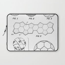 Soccer Ball Patent - Football Art - Black And White Laptop Sleeve