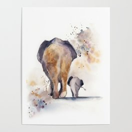 Mom and baby elepfants Poster