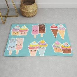 Kawaii cupcakes, ice cream in waffle cones, ice lolly Rug