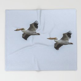 Pair of American White Pelicans in Flight Throw Blanket