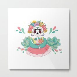 Mexican Catrina celebrating Day of the Death Kawaii style Metal Print