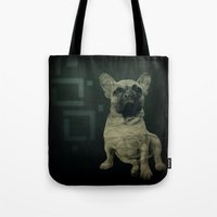 frenchie Tote Bags featuring Frenchie by Mi Nu Ra