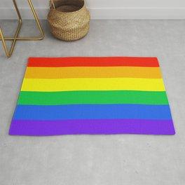 Rainbow Pride Horizontal Stripe Pattern Rug