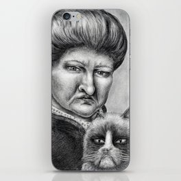 Untitled - Charcoal Drawing - pets, cat, grouchy, sad, angry, funny, silly iPhone Skin