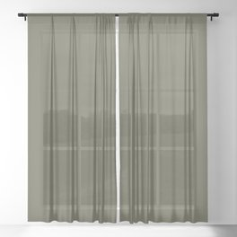 Dunn and Edwards 2019 Curated Colors Olive Court (Dark Muted Green) DEA174 Solid Color Sheer Curtain