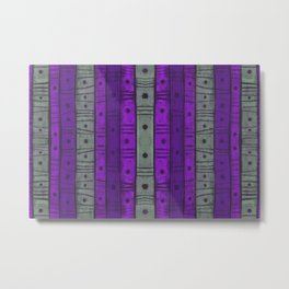 Stripes and Dots, Violet and Grey Metal Print