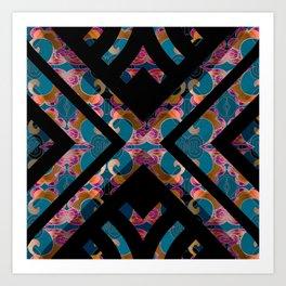 Teal Silk Brocade Geometric Print Art Print