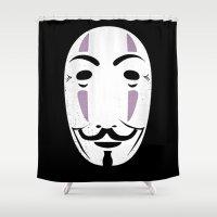 vendetta Shower Curtains featuring NOFACE FOR VENDETTA by DrakenStuff+