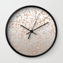 Glitter sparkle mix - rose gold & silver Wall Clock