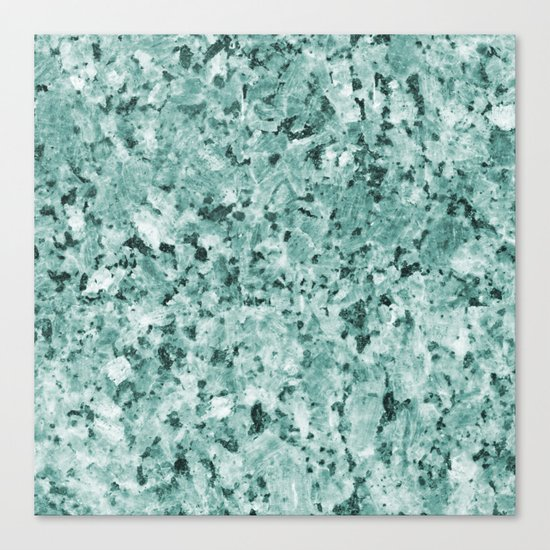 Polished granite verde - turquoise stone Canvas Print