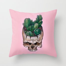 Cactus Skull Throw Pillow