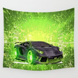 Tronic Green Sports Car Wall Tapestry