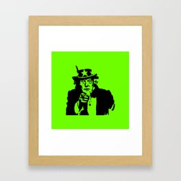 Neon Green Uncle Trump Needs You Framed Art Print