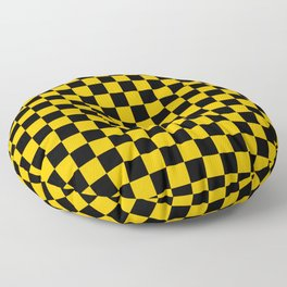 Black and Amber Orange Checkerboard Floor Pillow