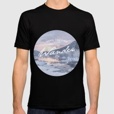 Wanderlust snow landscape winter sunset typography MEDIUM Black Mens Fitted Tee