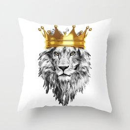 lion with a crown power king Throw Pillow