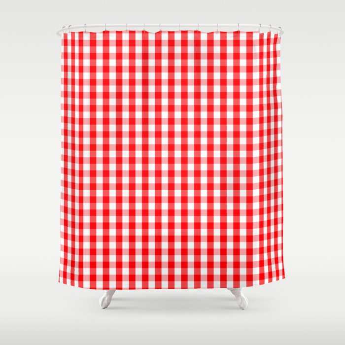 Large Christmas Red And White Gingham Check Plaid Shower Curtain