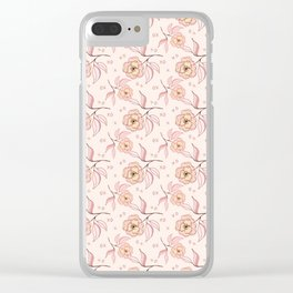 Pink Peony Kiss Floral Pattern Clear iPhone Case