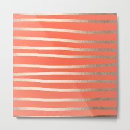 Simply Drawn Stripes in White Gold Sands on Deep Coral Metal Print