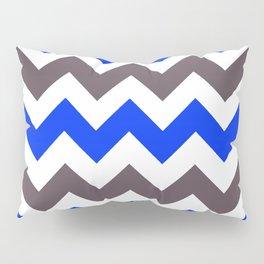 Blue Nebulas and Grey ZigZag Chevron Pattern Pillow Sham