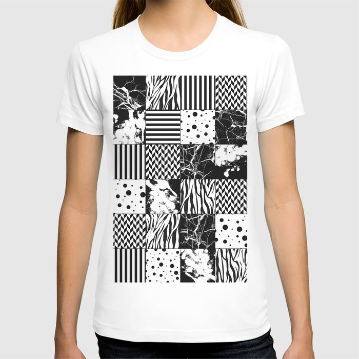 Eclectic Black and White Squares T-shirt