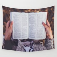 bible verse Wall Tapestries featuring Bible by Johnny Frazer