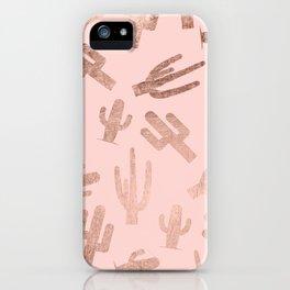Modern rose gold cactus pattern on blush pink iPhone Case
