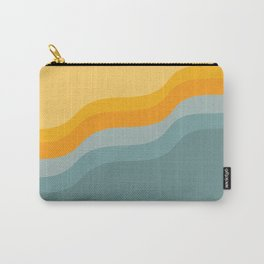 Zen Waves Abstract Geometric Art in Sunset Colors of Ocean and Sun Carry-All Pouch