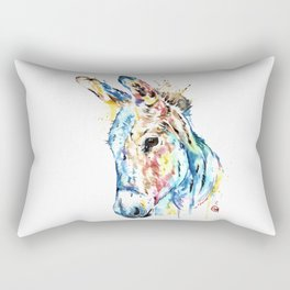Donkey Colorful Watercolor Painting by Lisa Whitehouse Rectangular Pillow