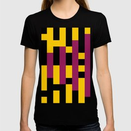 A lot of rectangles, all put in a way that it seems it is a 3d thing, but it's 2d, purple carpet. T-shirt