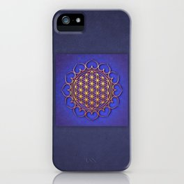 Flower Of Live Lotus - Golden Shine On Blue Beauty I.I iPhone Case