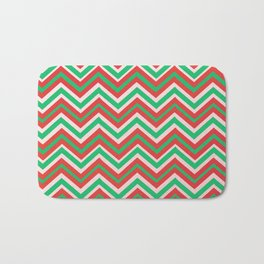 CHRISTMAS CHEVRON IN RED AND GREEN Bath Mat